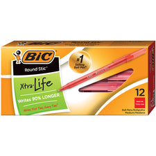 BIC Stick Pens Medium Red 12/Pk