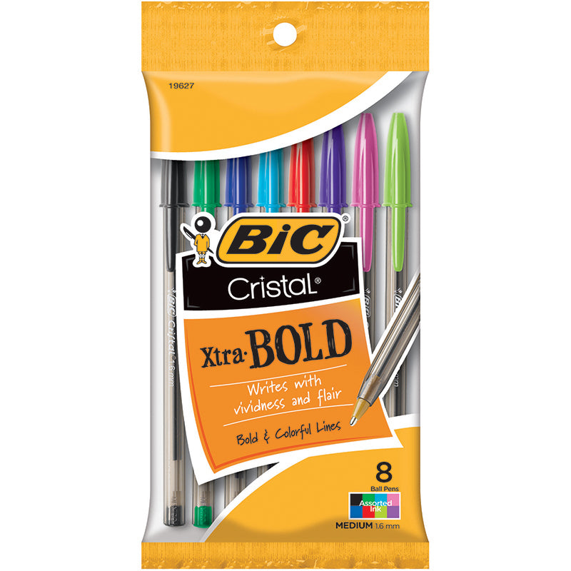 BIC Cristal Xtra-BOLD, Pack of 8