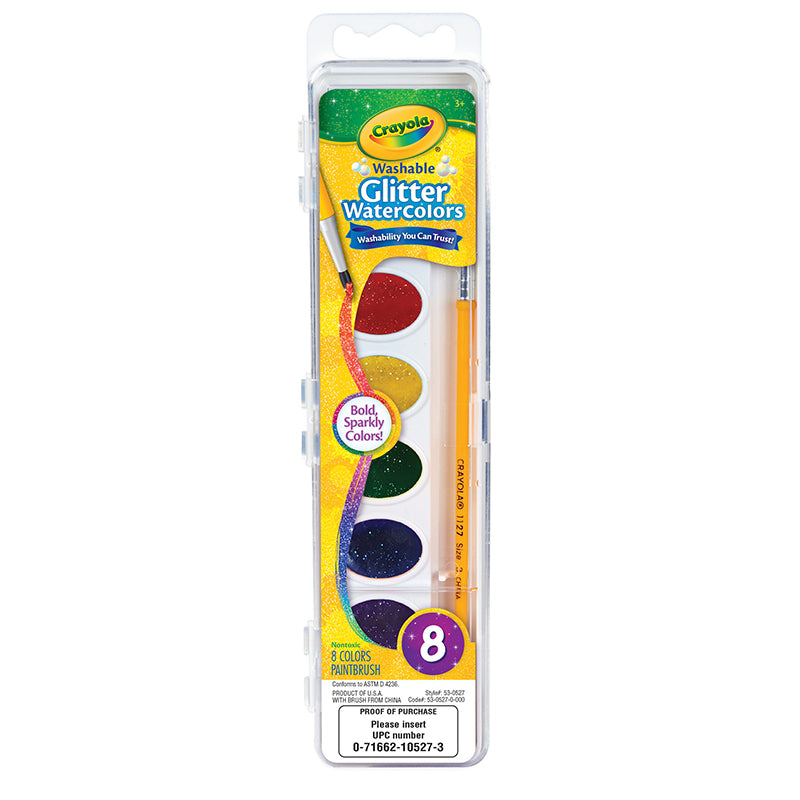 Crayola Washable Glitter Watercolors, 8 Count