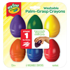My First Crayola Washable Palm-Grasp Crayons, 6 Pack