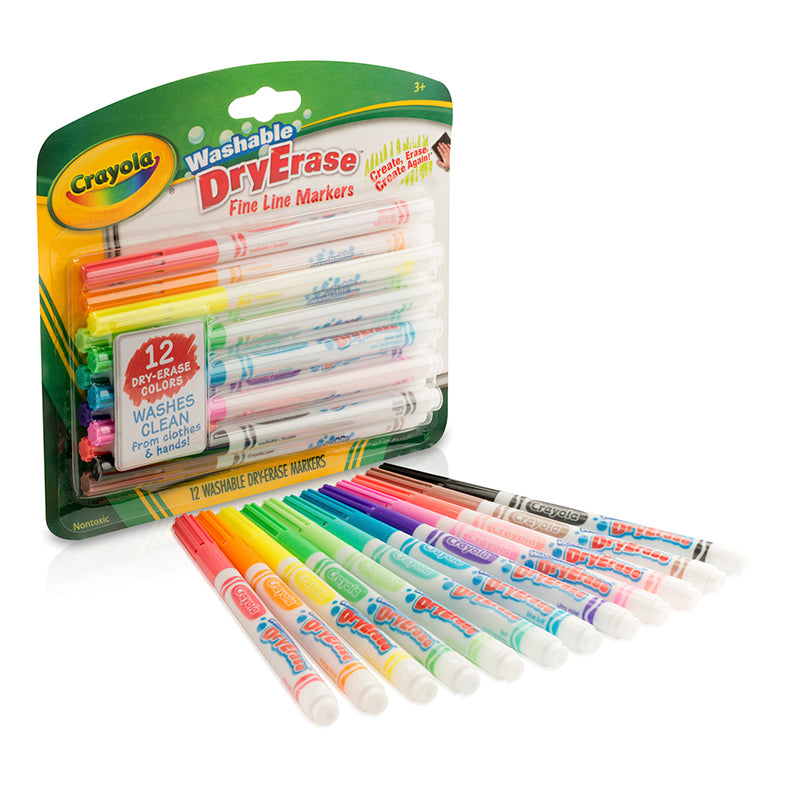 Crayola Washable Fine-Line DryErase Markers, 12 Color Assortment
