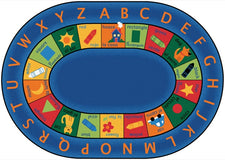 "Bilingual Alphabet Classroom Circle Time Rug, 6'9"" x 9'5"" Oval"