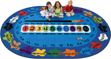 "Bilingual Paint by Numero Classroom Circle Time Carpet, 6'9"" x 9'5"" Oval"