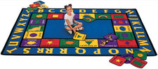 "Bilingual Alphabet & Shapes Classroom Rug, 8'4"" x 11'8"" Rectangle"