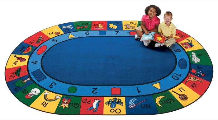 "Blocks of Fun Alphabet & Numbers Classroom Rug, 6'9"" x 9'5"" Oval"