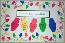 Bright Wishes for the Holidays - Christmas Lights Bulletin Board Idea
