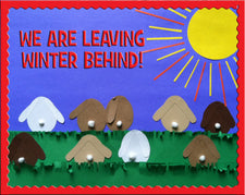 We Are Leaving Winter Behind! - Spring Bunny Themed Bulletin Board