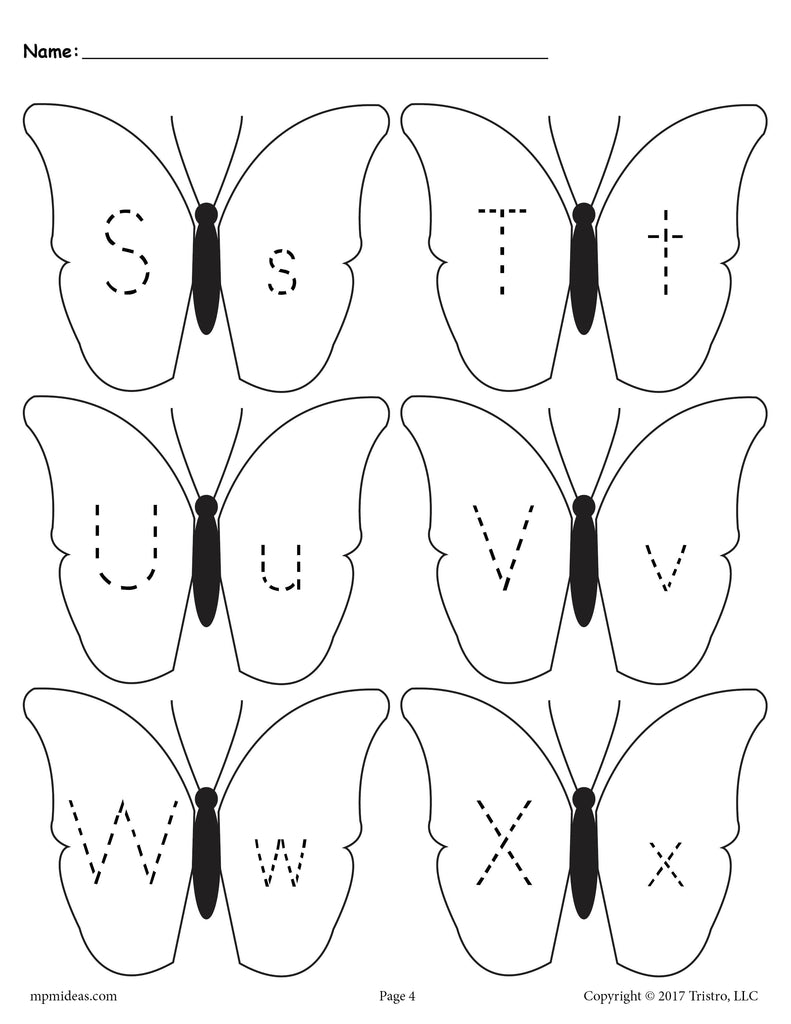 Butterflies Letter Tracing Worksheet - Uppercase and Lowercase Letters S, T, U, V, W, and X