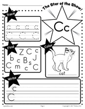 FREE Letter C Worksheet: Tracing, Coloring, Writing & More!