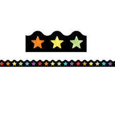 Celebrate Learning Watercolor Stars Scalloped Bulletin Board Border