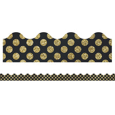 Sparkle and Shine Gold Glitter Dots Scalloped Bulletin Board Border