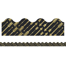 Sparkle and Shine Gold Glitter Arrows Scalloped Bulletin Board Border