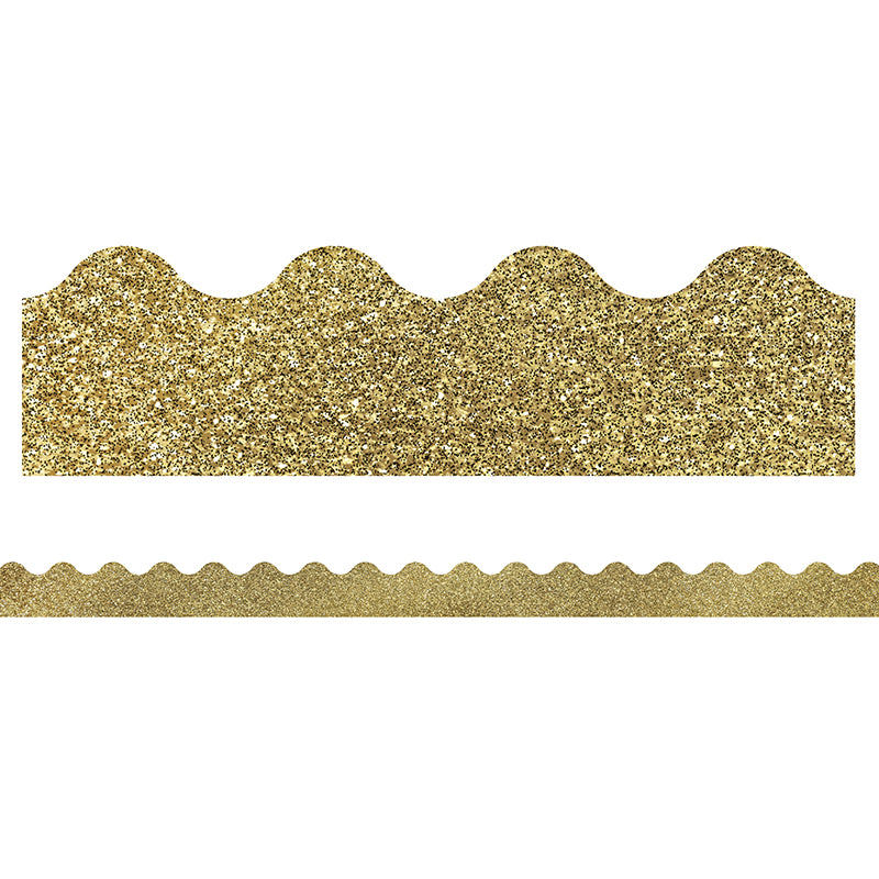 Sparkle and Shine Gold Glitter Scalloped Bulletin Board Border