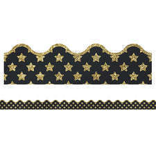 Sparkle and Shine Gold Glitter Stars Scalloped Bulletin Board Border