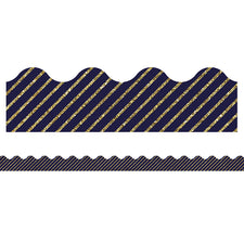 Sparkle and Shine Gold Glitter and Navy Stripe Scalloped Bulletin Board Border