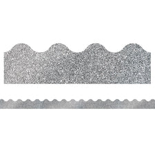 Sparkle and Shine Silver Glitter Scalloped Bulletin Board Border