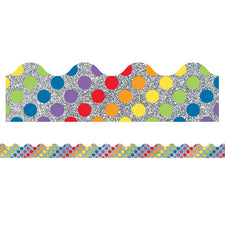 Sparkle and Shine Rainbow Dots on Glitter Scalloped Bulletin Board Border