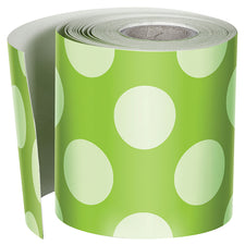 Lime with Polka Dots Straight Bulletin Board Border, 1 Roll