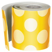 Yellow with Polka Dots Straight Bulletin Board Border, 1 Roll
