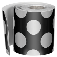 Black with Polka Dots Straight Bulletin Board Border, 1 Roll