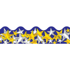 Gold and Silver Stars Scalloped Borders