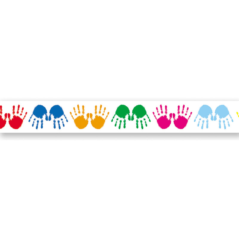 Colorful Handprints Straight Borders