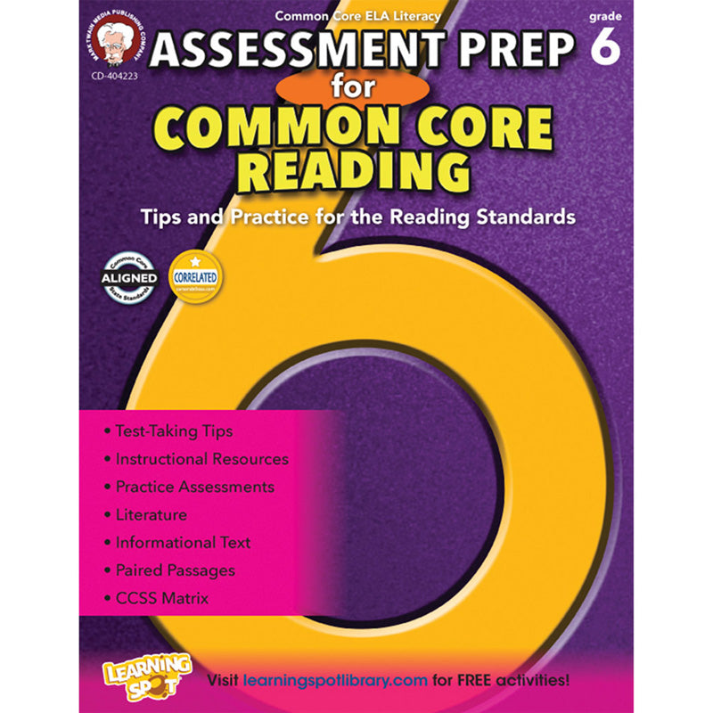 Assessment Prep for Common Core Reading Resource Book, Grade 6