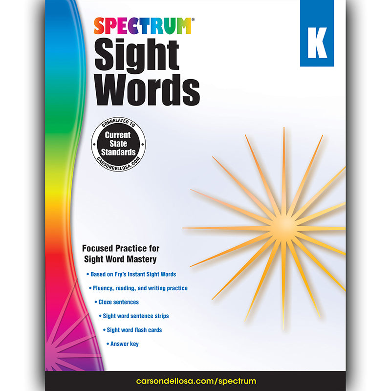 Spectrum Sight Words Workbook, Grade K