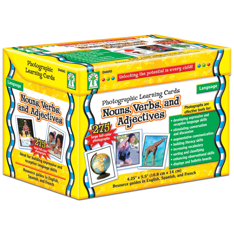 Nouns Verbs And Adjectives Learning Cards Set