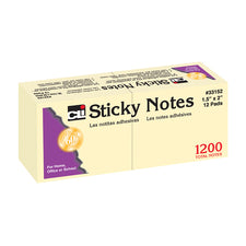"Sticky Notes, 1 1/2"" x 2"" Plain Yellow"