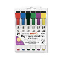 Fine Tip Magnetic Dry Erase Markers, 6 Pack Assorted