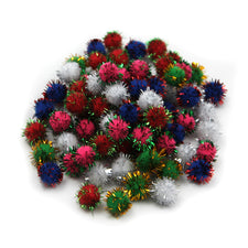 "Pom-Poms, 1/2"" Assorted Glitter Colors"