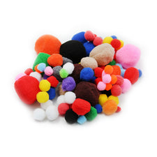 Pom-Poms, Assorted Sizes & Colors, 100 Pieces