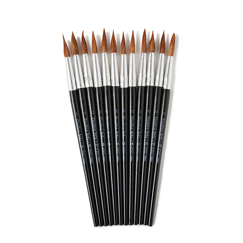 "Water Color Pointed Round Brushes, Size #12 (1 1/16""), Long"