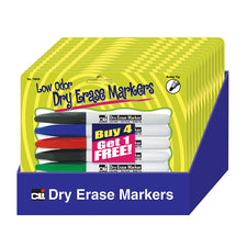 Bullet Tip Dry Erase Markers, Set of 5 Assorted - 12 Count