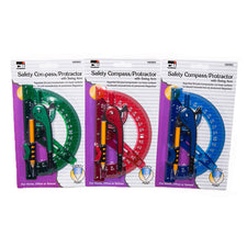 Safety Compass/Protractor with Swing Arm, 12 Count Assorted