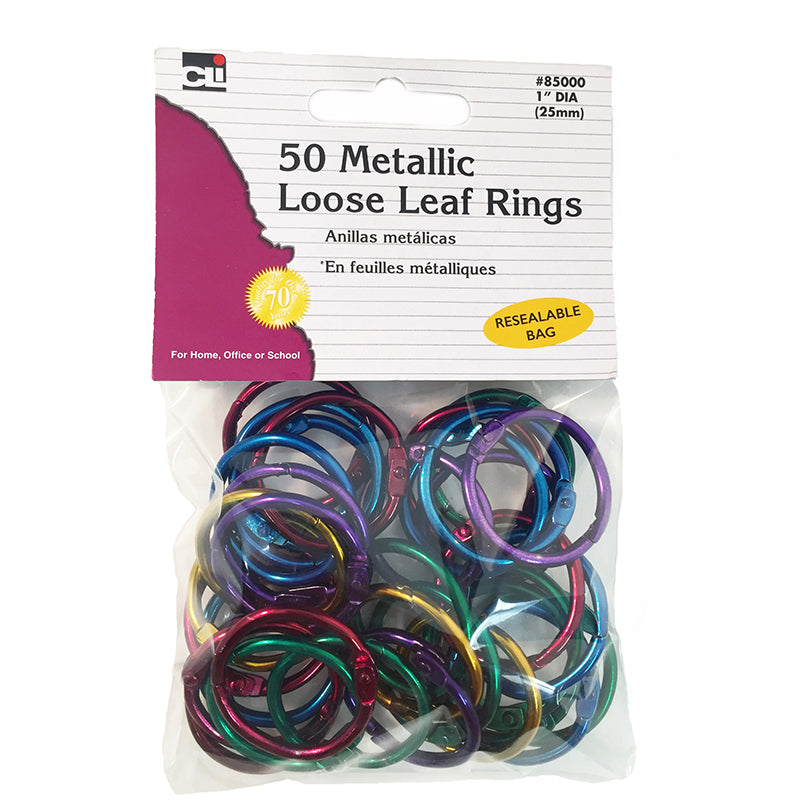 50 Metallic Loose Leaf Rings, Assorted Colors