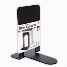 "Black Bookends 9"" Steel, Non-Skid"