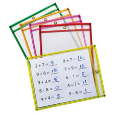 Reusable, Hangable Dry Erase Pockets, 10Pk Assorted Neon
