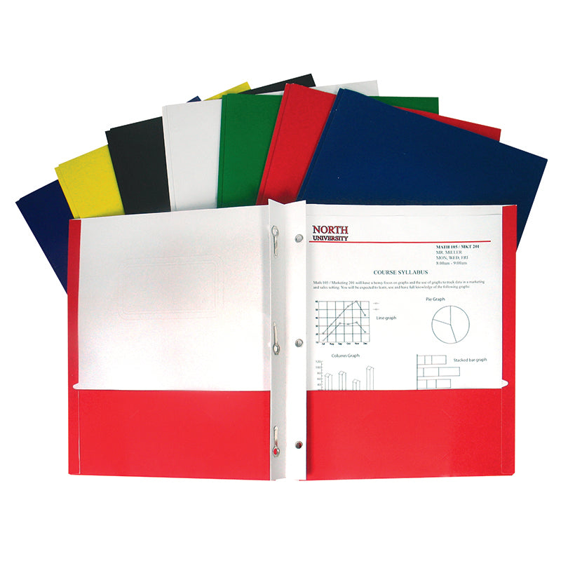 Recycled Two-Pocket Paper Portfolio, With Prongs