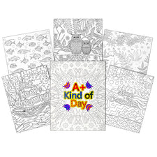 UColor Two-Pocket Coloring Folders, Child Pattern (6 Count)