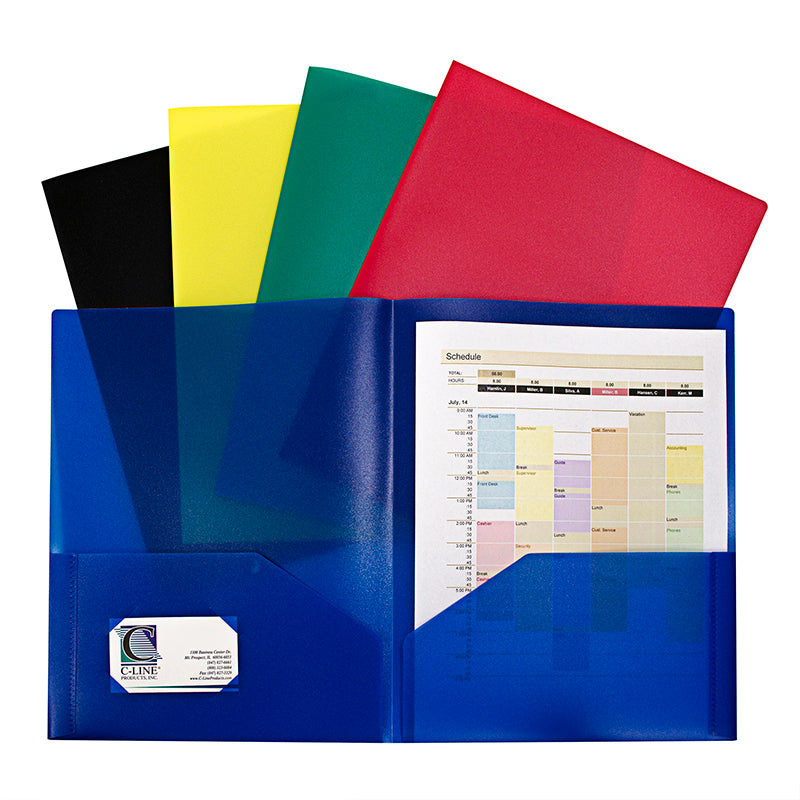 Two-Pocket Heavyweight Poly Portfolio Folder, 10 Pack Assorted