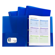 Two-Pocket Heavyweight Poly Portfolio Folder with Prongs, 10 Pack Blue