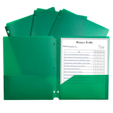 Two-Pocket Heavyweight Poly Portfolio Folder, Three-Hole Punch, Green