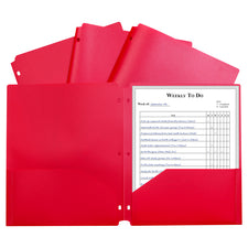 Two-Pocket Heavyweight Poly Portfolio Folder, Three-Hole Punch, Red