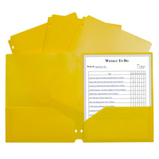 Two-Pocket Heavyweight Poly Portfolio Folder, Three-Hole Punch, Yellow
