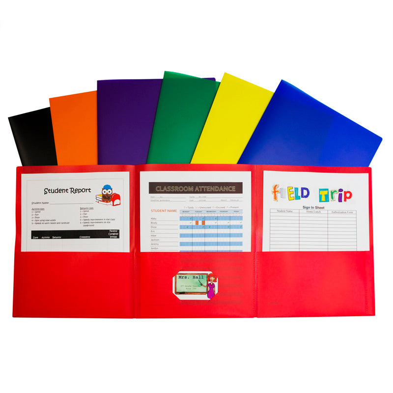 Tri-Fold Poly Portfolios, Box of 24, Assorted