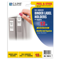 "Self-Adhesive Binder Label Holders, 12 Pack (1 1/2"" Binders)"