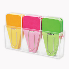 Solid Clip Tabs, 24 Pack (Pink, Green, Orange)