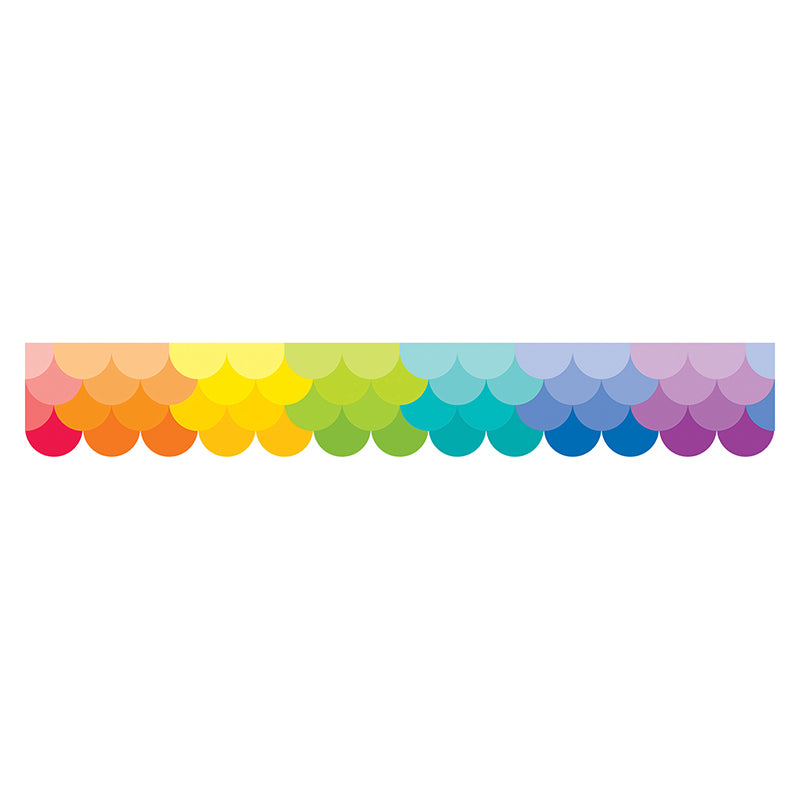 Painted Palette Ombre Rainbow Scallops Bulletin Board Border